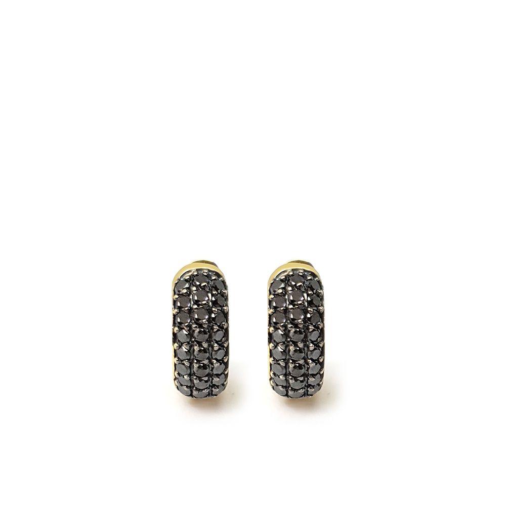 Brinco Argola Ouro 18k com 48 Diamantes Negro  - YVES
