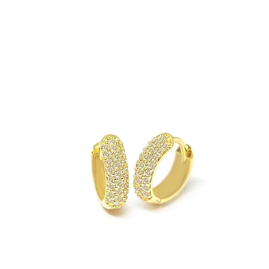 Brinco Argola Ouro 18k com 50 Diamantes