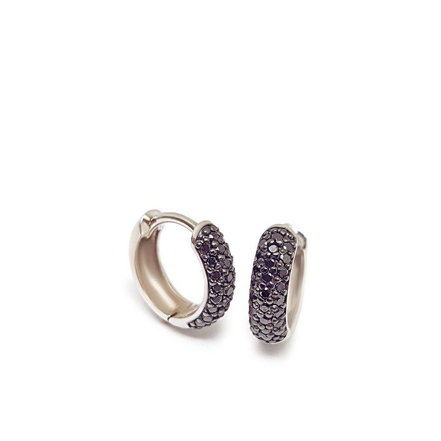 Brinco Argola Ouro 18k com 50 Diamantes Negro