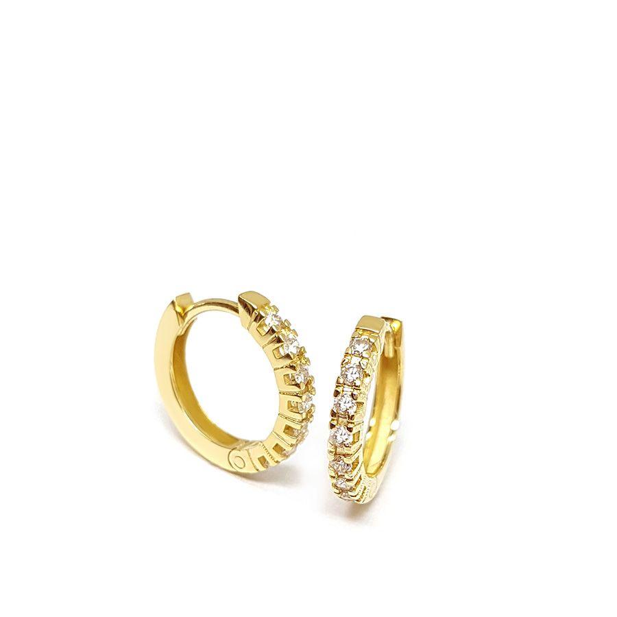 Brinco Argola Ouro 18k com Diamantes   - YVES