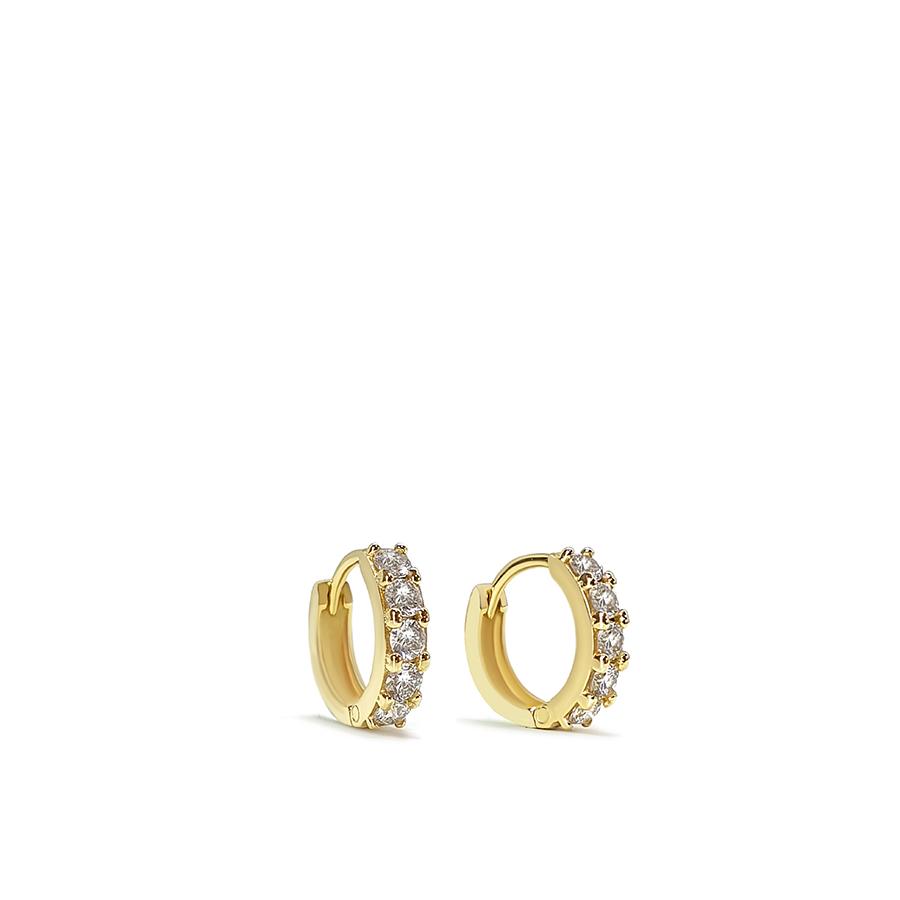 Brinco Argola Ouro 18k com Diamantes de 3 pontos