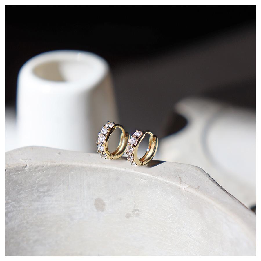 Brinco Argola Ouro 18k com Diamantes de 3 pontos  - YVES
