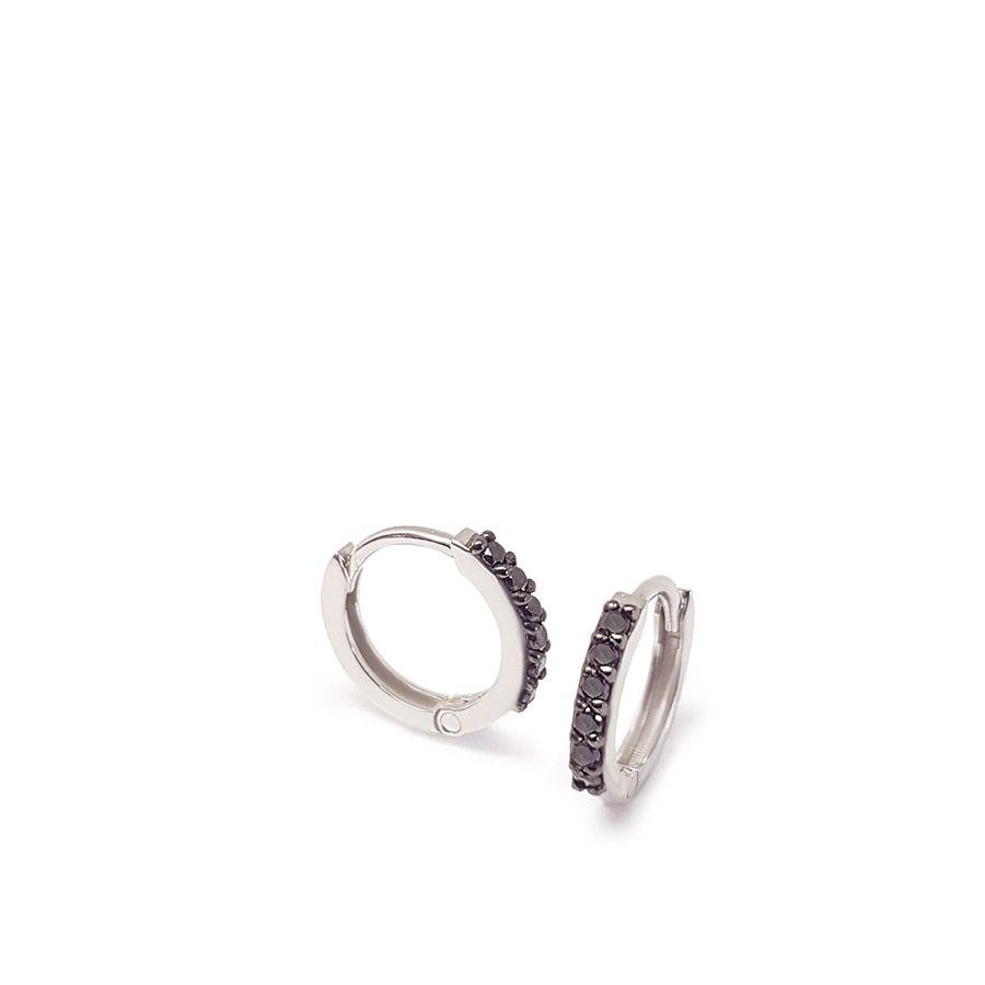 Brinco Argola Ouro 18k com Diamantes Negro