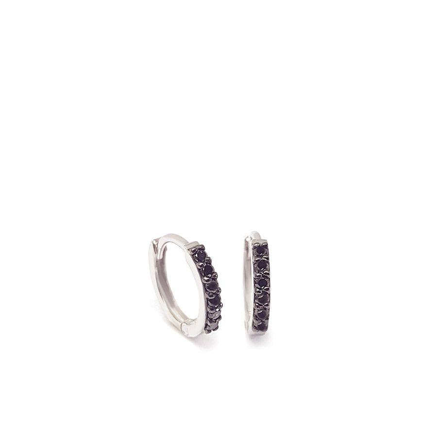 Brinco Argola Ouro 18k com Diamantes Negro  - YVES
