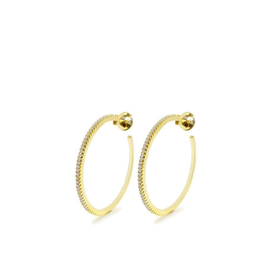 Brinco Argola Ouro 18k Médio com Diamantes   - YVES