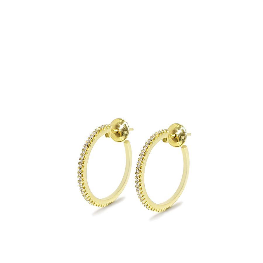 Brinco Argola Ouro 18k Pequeno com Diamantes