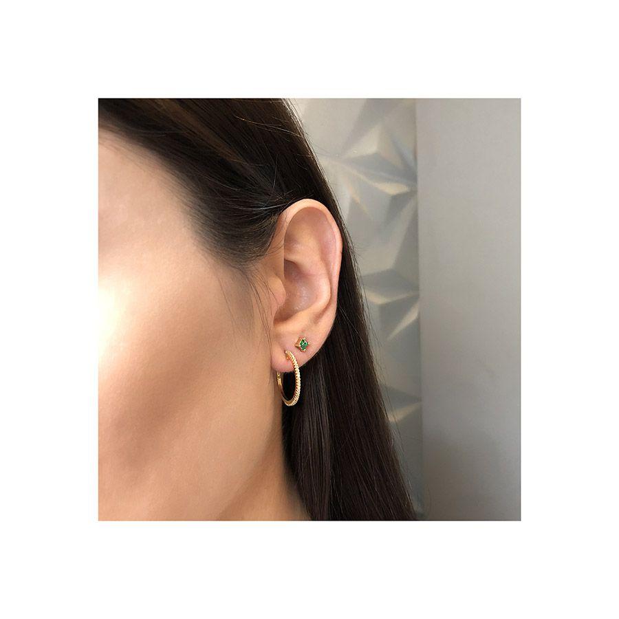 Brinco Argola Ouro 18k Pequeno com Diamantes   - YVES
