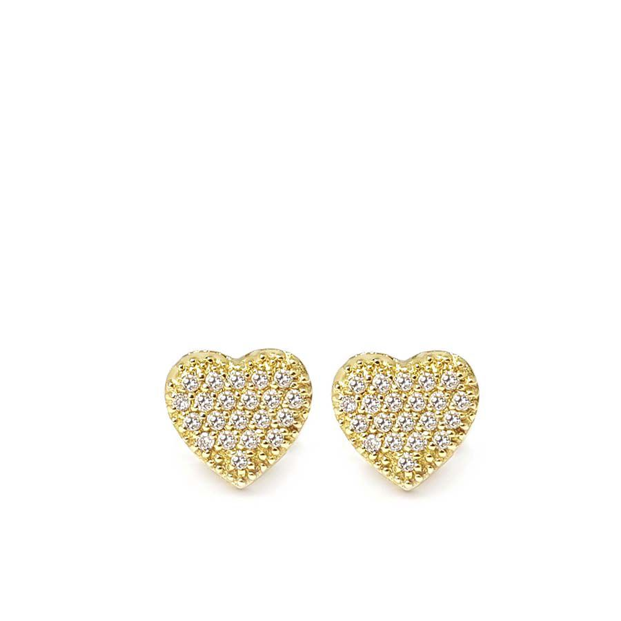 Brinco Chuveiro Coração Ouro 18k com Diamantes   - YVES