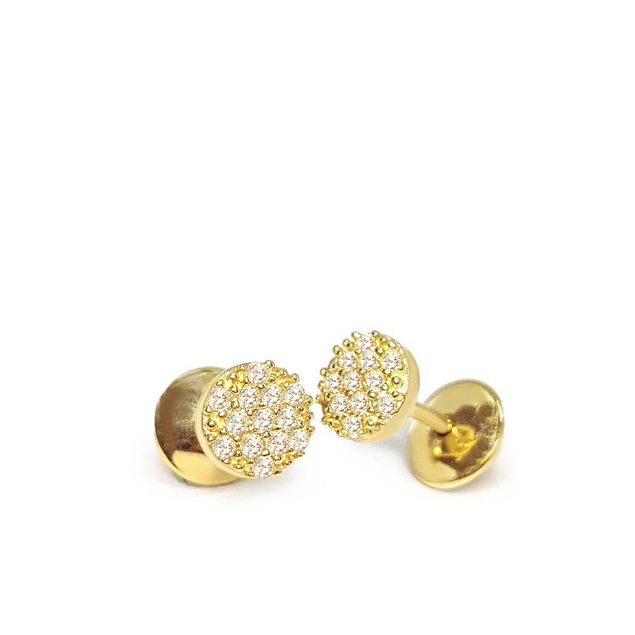 Brinco Chuveiro Ouro 18k com 26 Diamantes