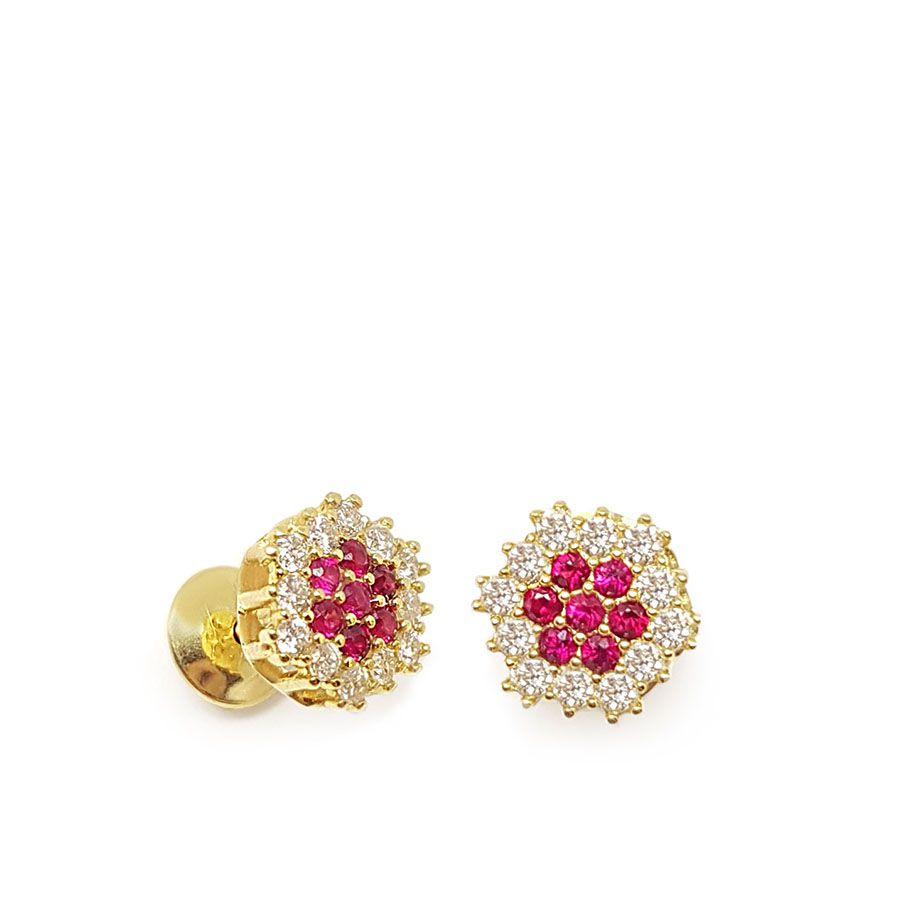 Brinco Chuveiro Ouro 18k com Diamantes e Rubis  - YVES