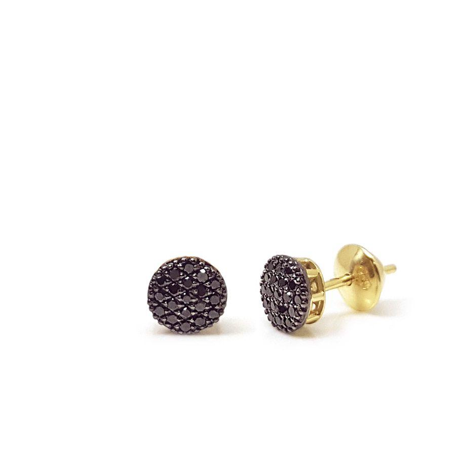 Brinco Chuveiro Ouro 18k com Diamantes Negro