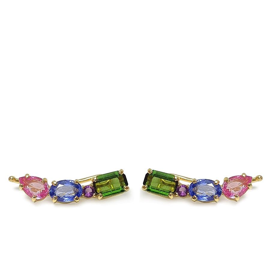 Brinco Ear Cuff Ouro 18k Colorido com Safiras, Turmalina e Ametista