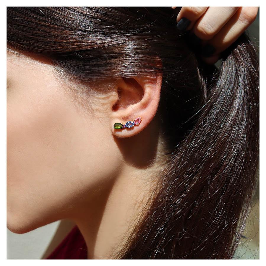 Brinco Ear Cuff Ouro 18k Colorido com Safiras, Turmalina e Ametista  - YVES