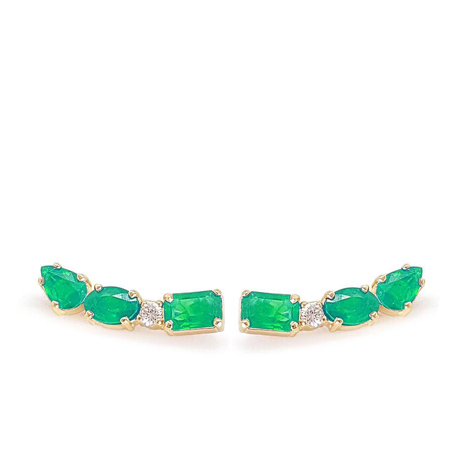 Brinco Ear Cuff Ouro 18k com Diamante e Esmeraldas Retangular Oval e Gota