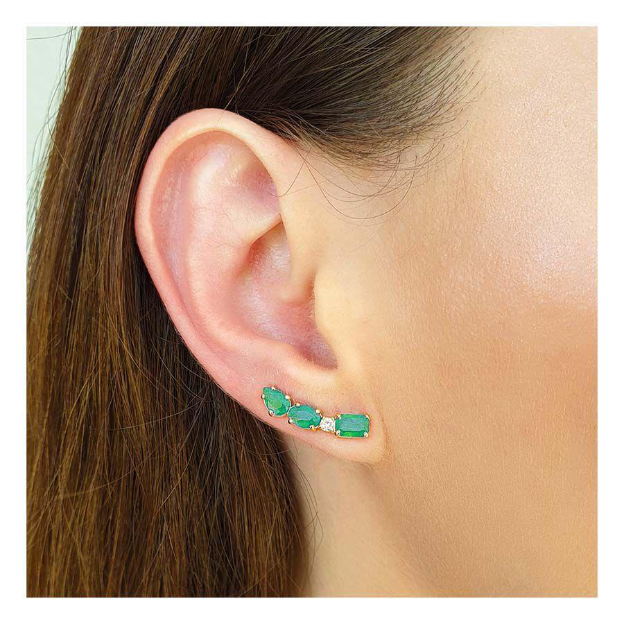 Brinco Ear Cuff Ouro 18k com Diamante e Esmeraldas Retangular Oval e Gota   - YVES