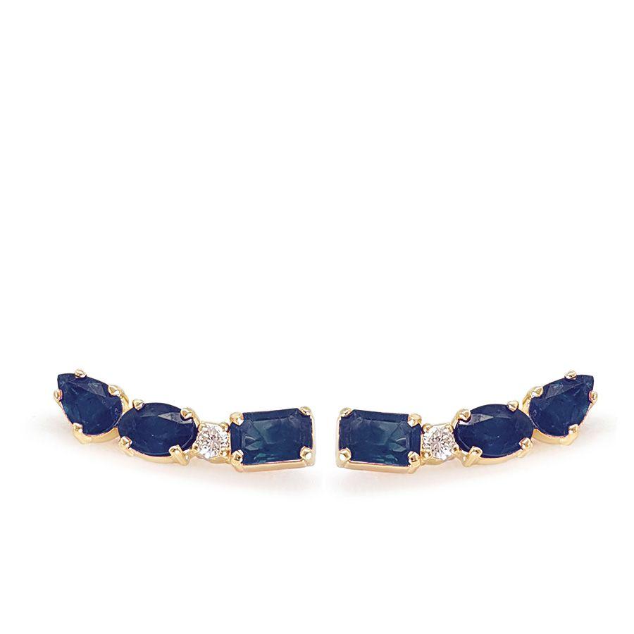 Brinco Ear Cuff Ouro 18k com Diamante e Safiras Retangular Oval e Gota