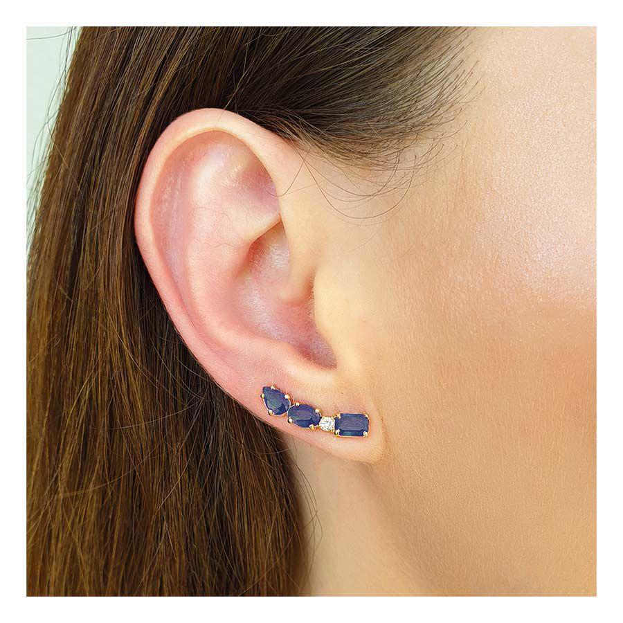 Brinco Ear Cuff Ouro 18k com Diamante e Safiras Retangular Oval e Gota   - YVES