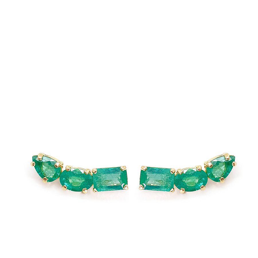 Brinco Ear Cuff Ouro 18k com Esmeraldas Retangular Oval e Gota