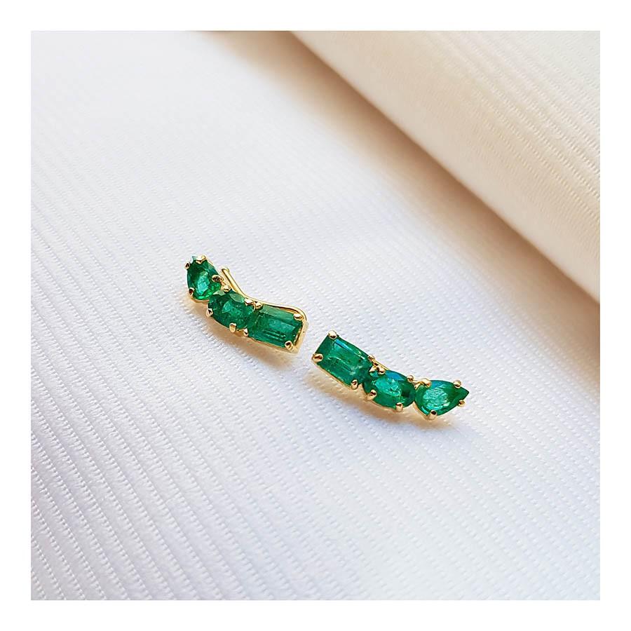 Brinco Ear Cuff Ouro 18k com Esmeraldas Retangular Oval e Gota   - YVES