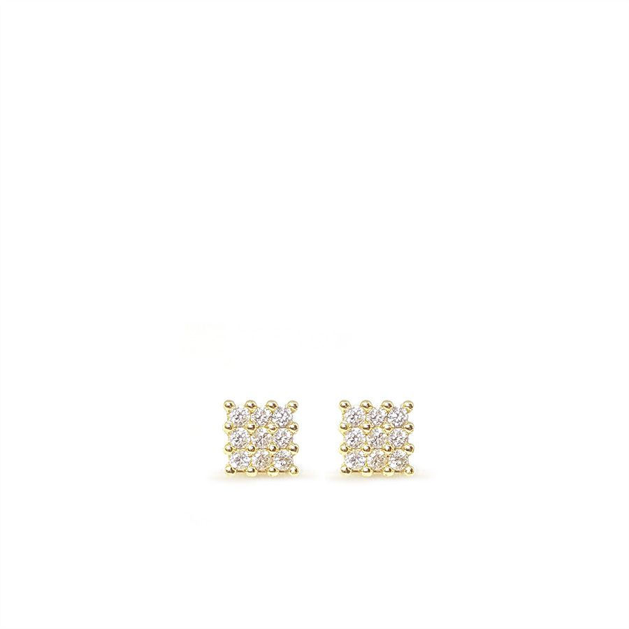 Brinco Ouro 18k Chuveiro Quadrado com Diamantes