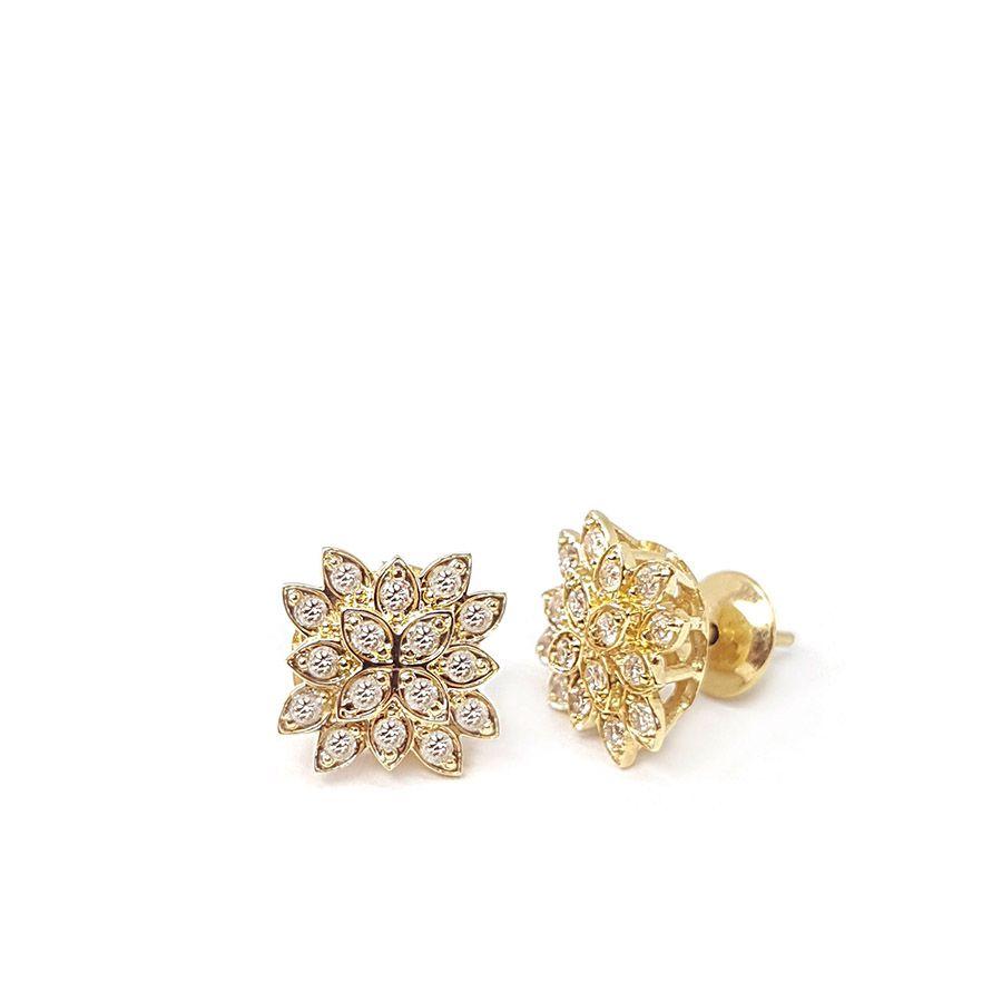 Brinco Ouro 18k Flor com Diamantes