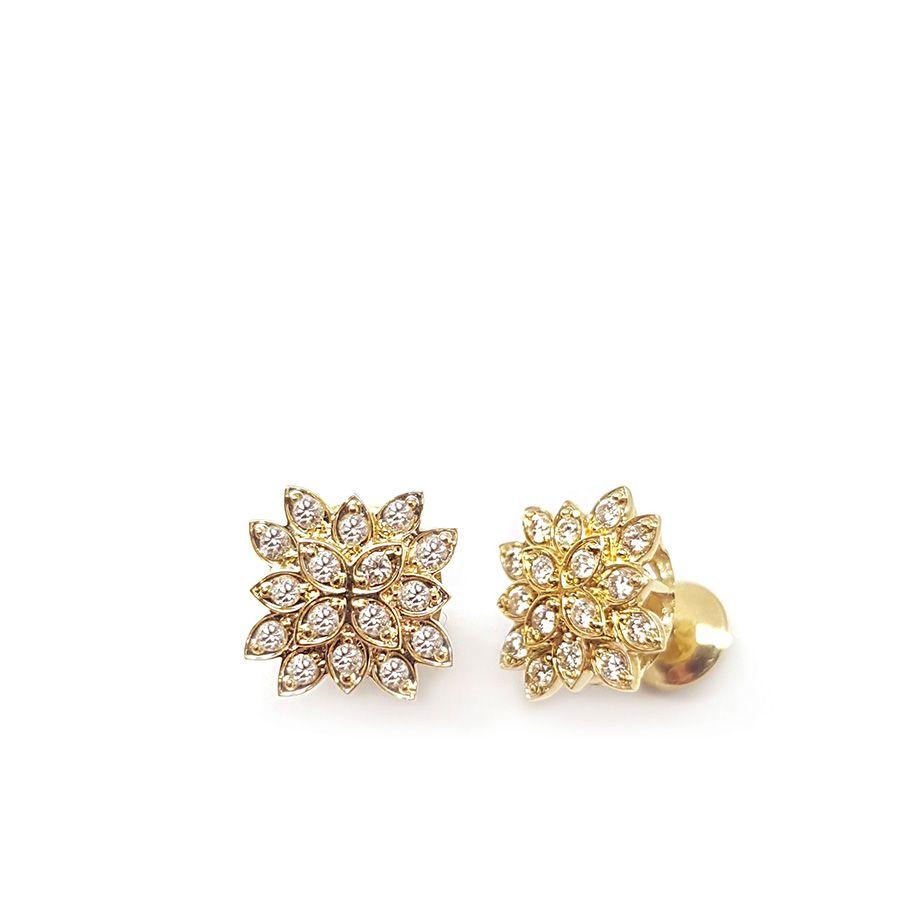 Brinco Ouro 18k Flor com Diamantes   - YVES