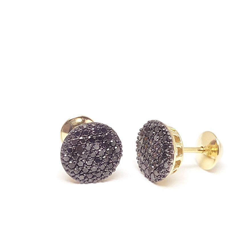 Brinco Ouro 18k com Diamantes Negro