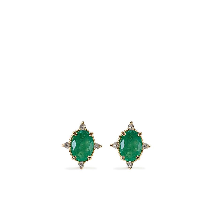 Brinco Ouro 18k com Esmeralda Oval Média com Diamantes
