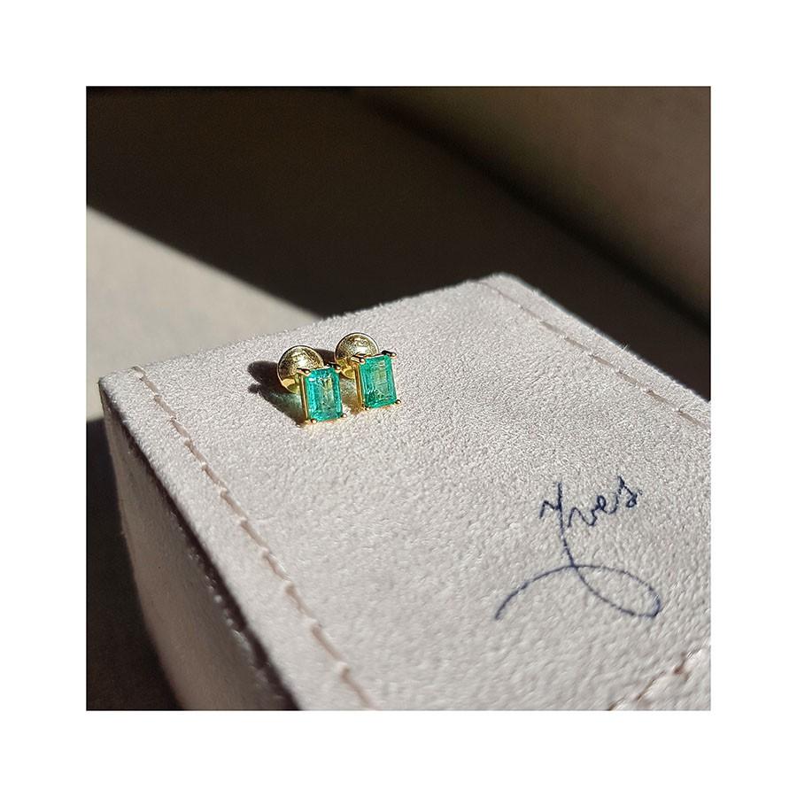 Brinco Ouro 18k com Esmeralda Retangular   - YVES