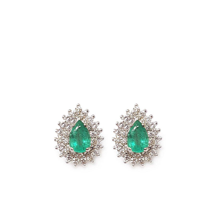 Brinco Ouro 18k com Gota de Esmeralda e Diamantes   - YVES