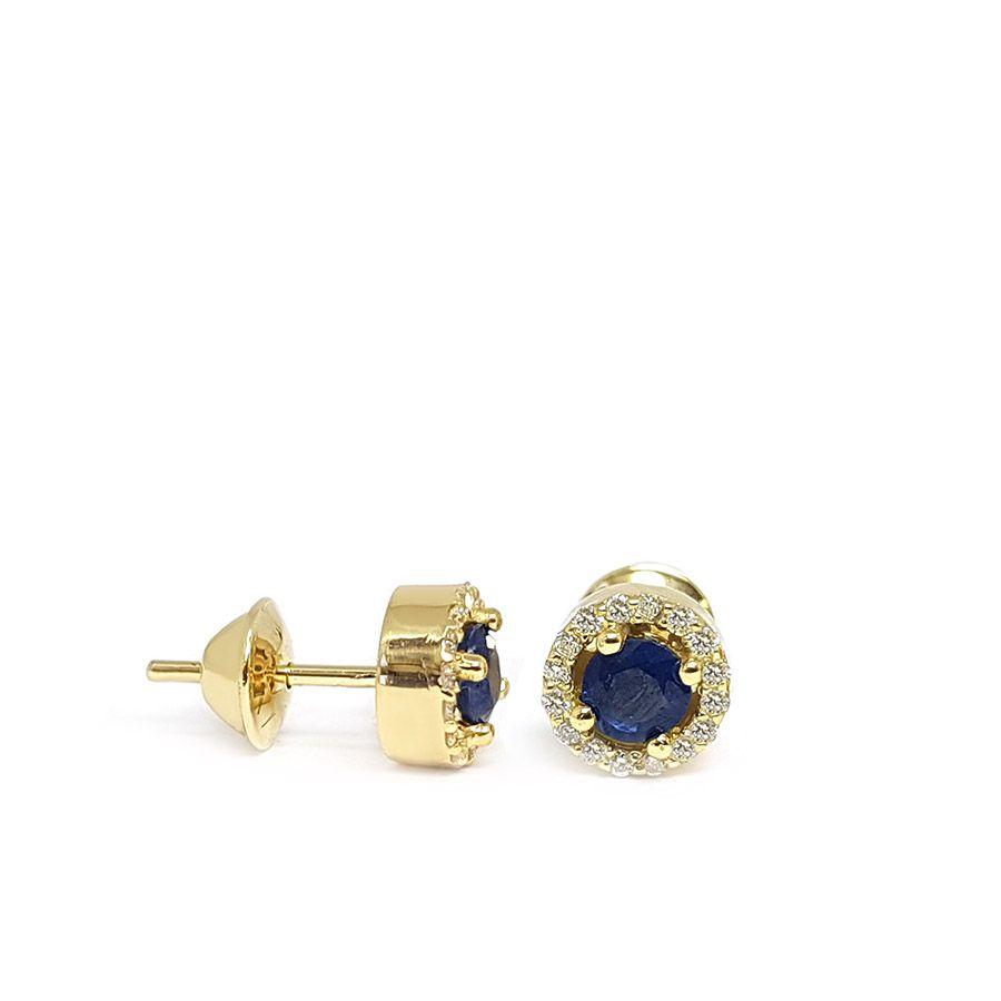 Brinco Ouro 18k com Safira e Diamantes   - YVES
