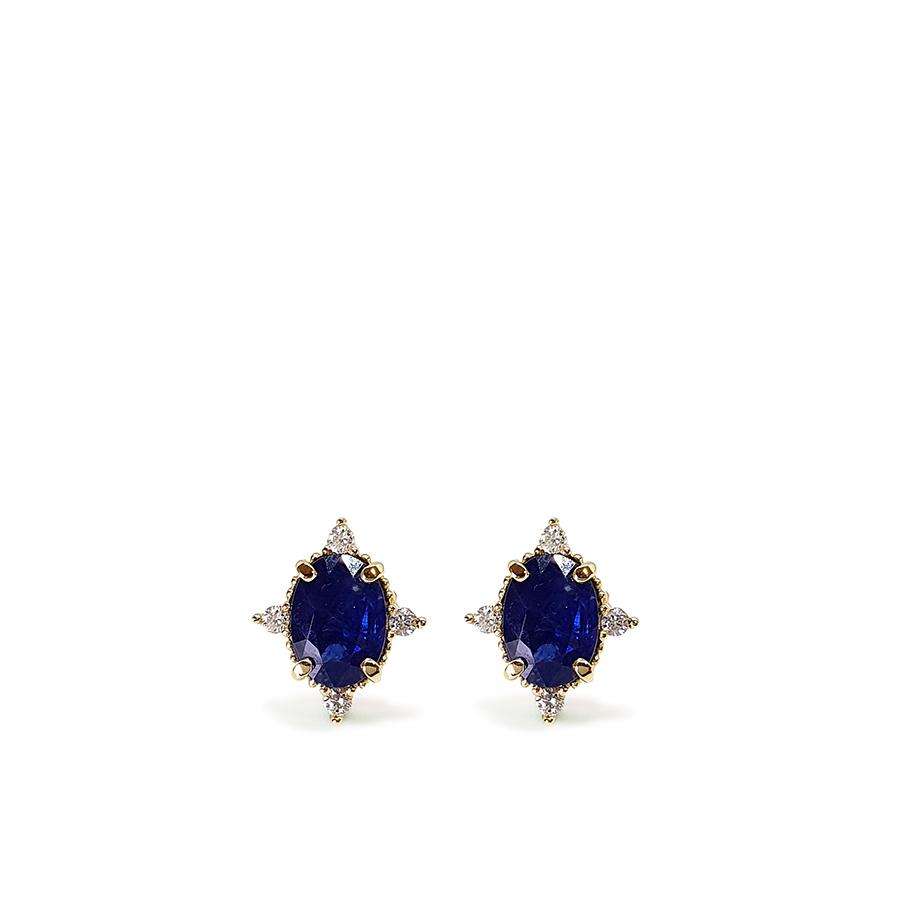 Brinco Ouro 18k com Safira Oval Média com Diamantes  - YVES