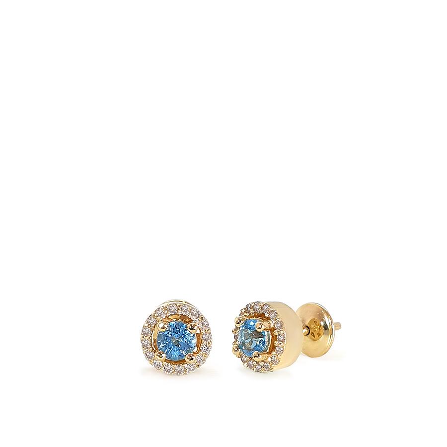 Brinco Ouro 18k com Topázio Sky e Diamantes  - YVES