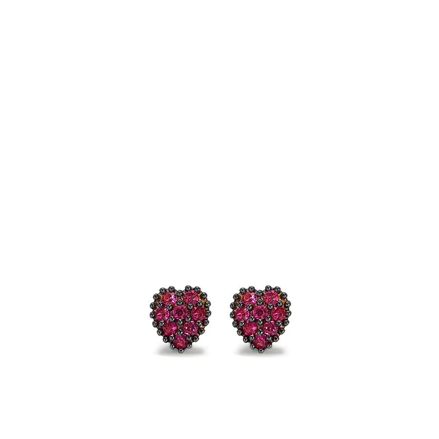 Brinco Ouro 18k Coração com 16 Rubis e Ródio Negro