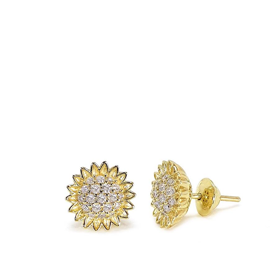 Brinco Ouro 18k Girassol com Diamantes