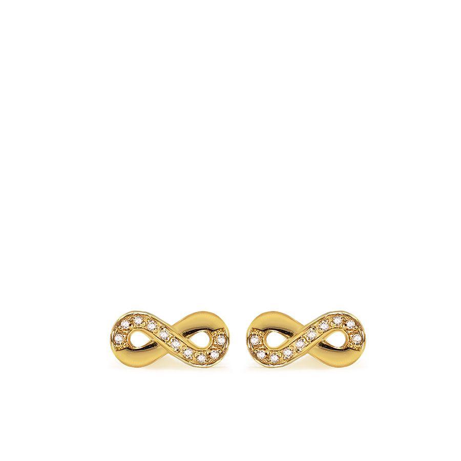 Brinco Ouro 18k Infinito com Diamantes