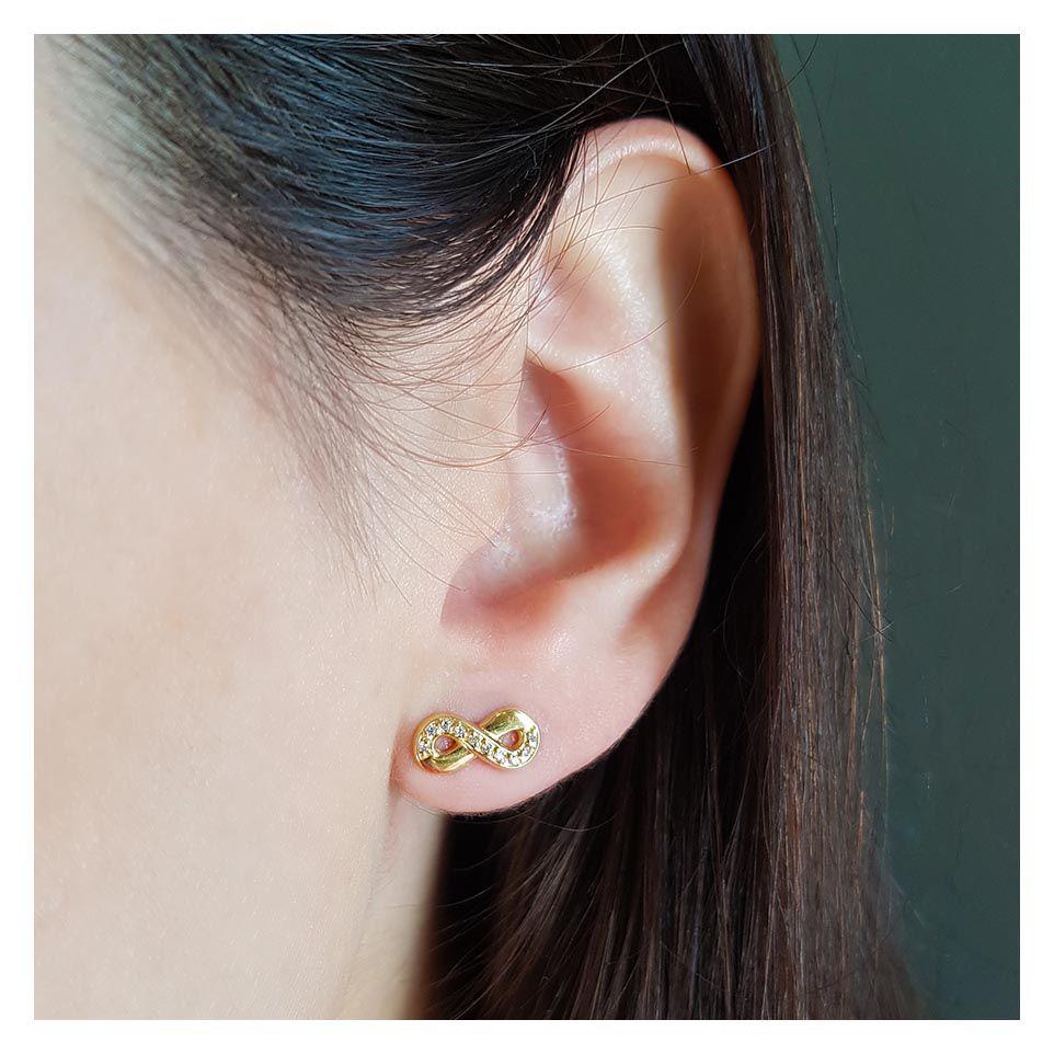 Brinco Ouro 18k Infinito com Diamantes  - YVES
