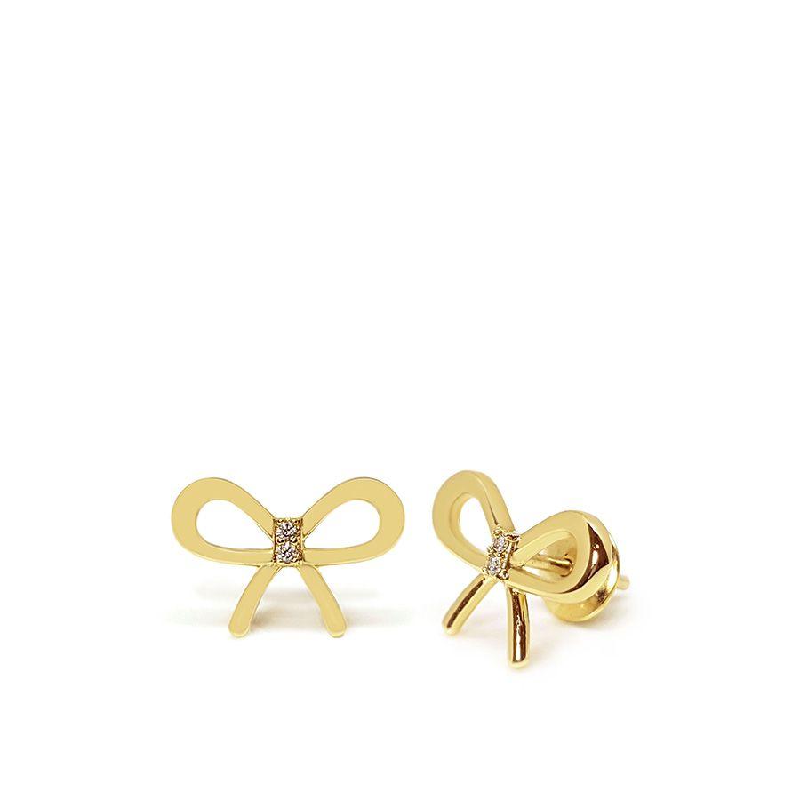Brinco Ouro 18k Laço com Diamantes