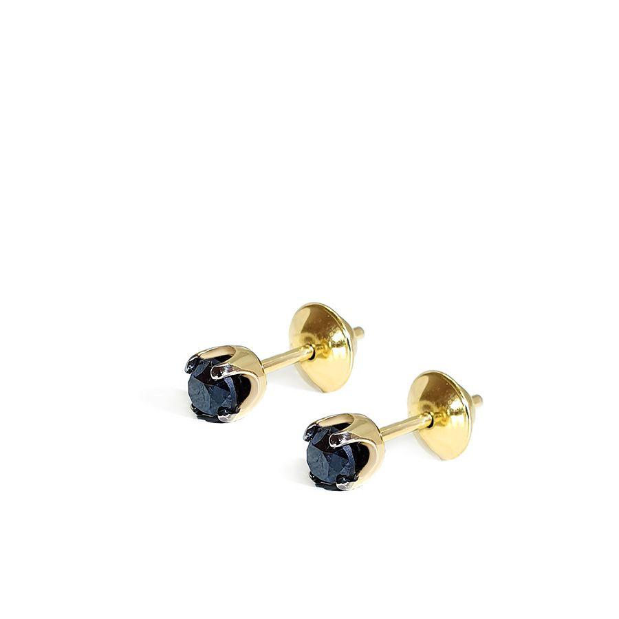 Brinco Ouro 18k Ponto de Luz com Diamante Negro de 30 pontos
