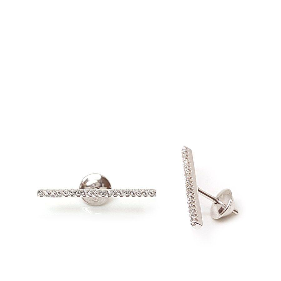 Brinco Ouro 18k Trave com Diamantes   - YVES