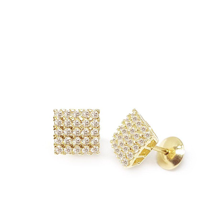 Brinco Quadrado Ouro 18k com Diamantes   - YVES
