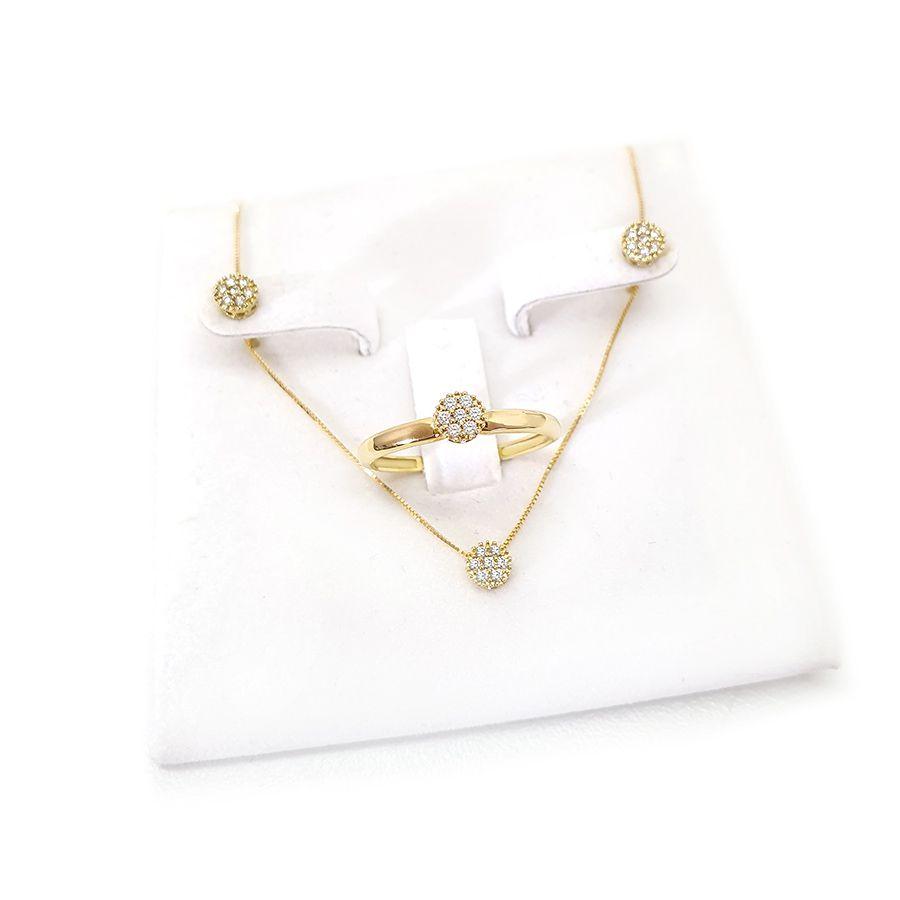 Conjunto Anel Brinco Pingente Ouro 18k Chuveirinho com Diamantes
