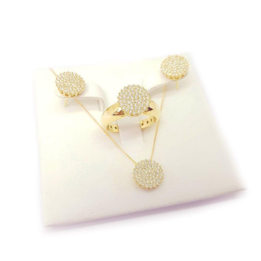 Conjunto Anel Brinco Pingente Ouro 18k Chuveiro com Diamantes