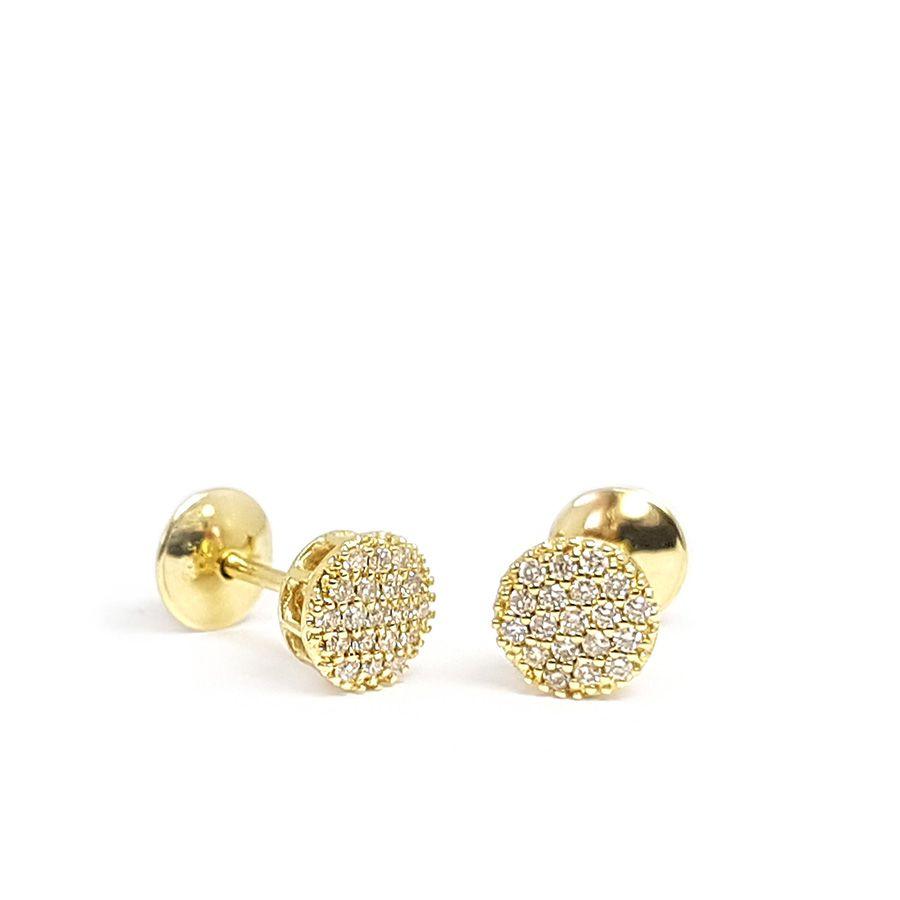 Conjunto Anel Brinco Pingente Ouro 18k Chuveiro com Diamantes   - YVES
