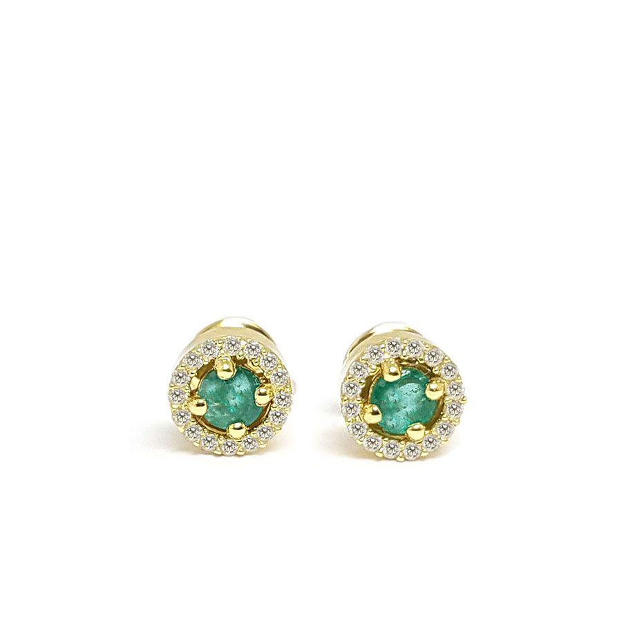Conjunto Anel Brinco Pingente Ouro 18k com Esmeralda e Diamantes   - YVES