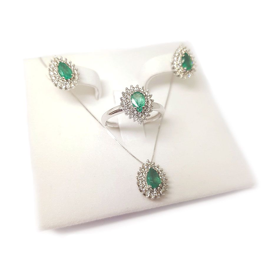 Conjunto Anel Brinco Pingente Ouro 18k com Gota de Esmeralda e Diamantes