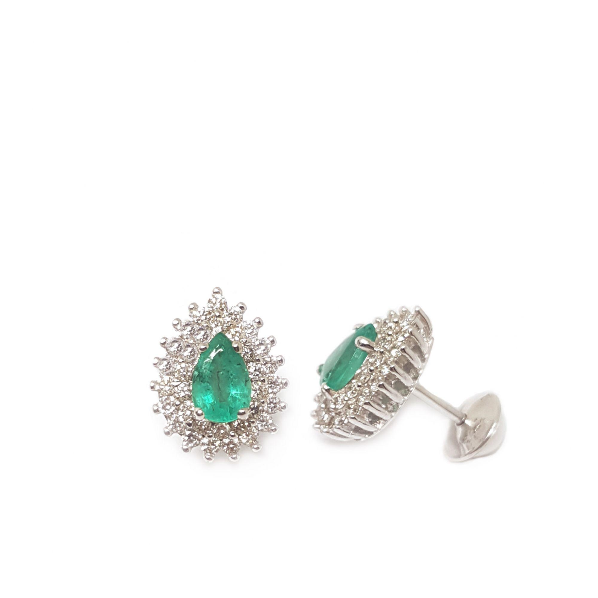 Conjunto Anel Brinco Pingente Ouro 18k com Gota de Esmeralda e Diamantes   - YVES