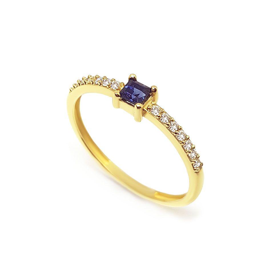 Anel Purity Ouro 18k com Quadrado Safira e Diamantes