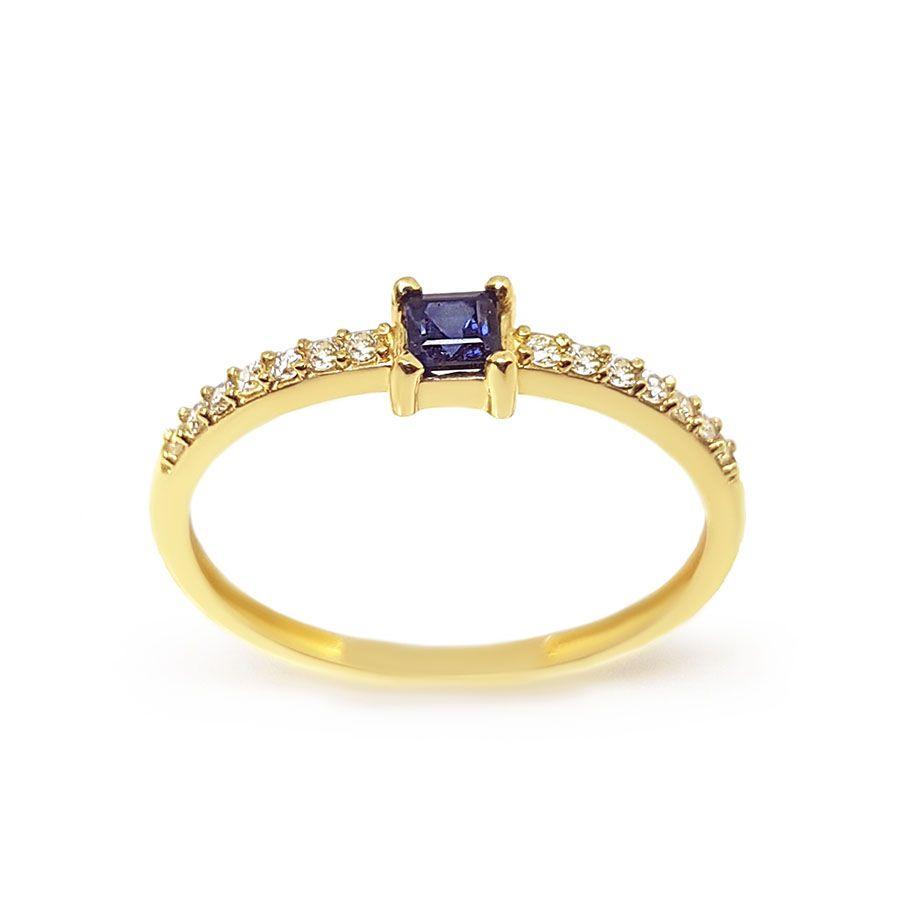 Anel Purity Ouro 18k com Quadrado Safira e Diamantes  - YVES