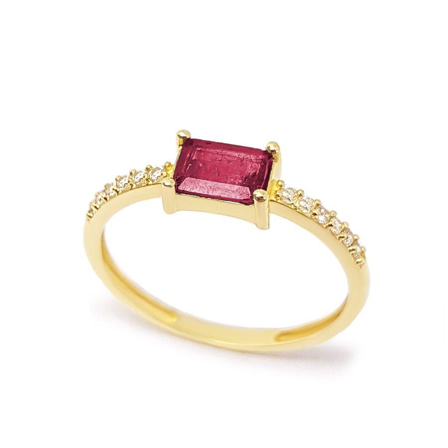 Anel Purity Ouro 18k com Rubi Retangular e Diamantes